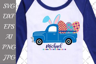 """Easter Truck Svg: """"HAPPY EASTER SVG"""" Old Truck Svg,Girl Easter Svg,Eas"""