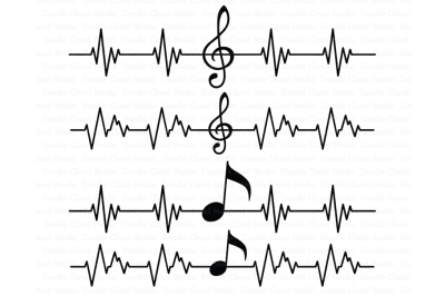 Musical Notes SVG, Musical Heart beat SVG Files, Treble clef.