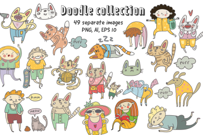 49 doodle characters