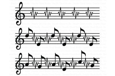 Music Score SVG, Music Heart beat SVG Files
