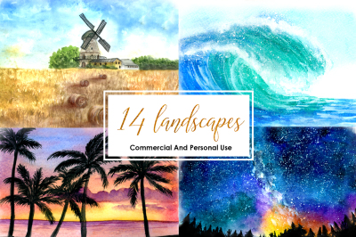 Watercolor Landscapes Beach Galaxy Night Sky Nature