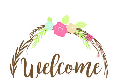 Welcome Srping Wreath SVG, PNG, DXF, EPS,JPG, PNG