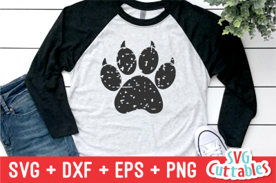 Distressed Paw Print with Claws