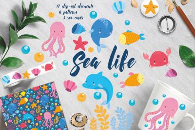 Underwater animals set