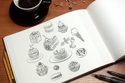 Set of cake sketch in vector