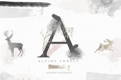 Alpine Forest - Watercolor Alphabet, Animals and Design Elements