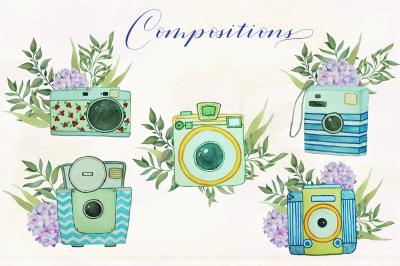 Floral vintage watercolor cameras