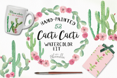 Watercolor Cactus Package Cacti Frames Patterns Wreaths Clipart