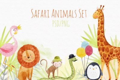 Cute Watercolor Animals Set 2 (PNG + PSD)
