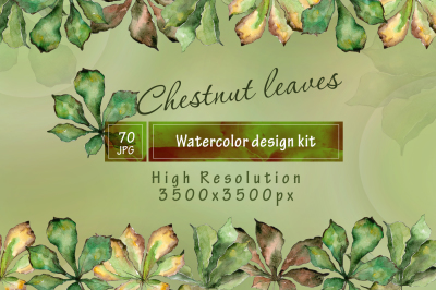 Chestnut leaves PNG watercolor set