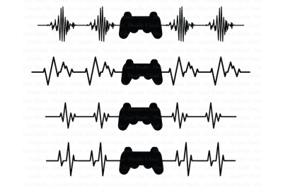 Heartbeat Game Controller SVG Files, Heart Beat Line SVG Files