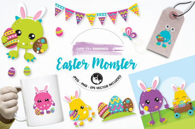 Easter monster Graphics and Illustrations