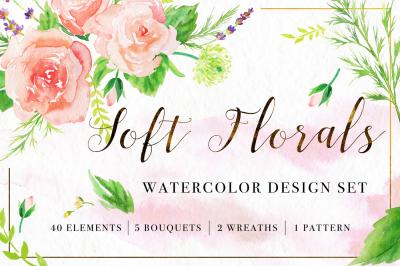 Soft Florals Watercolor Design Set