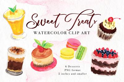 Sweet Treats Watercolor Clip Art
