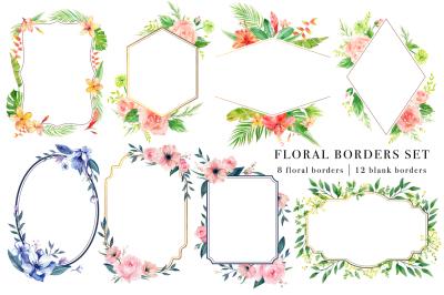 Floral Borders Watercolor Design Set