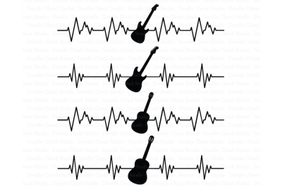 Heartbeat Electric & Acoustic Guitar SVG files
