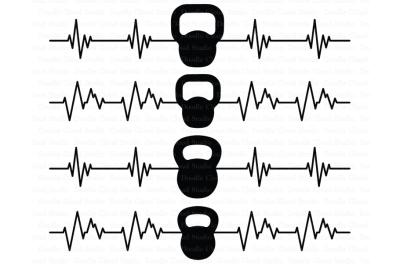 Heartbeat Kettlebelles SVG files, Cardiogram Fitness SVG.