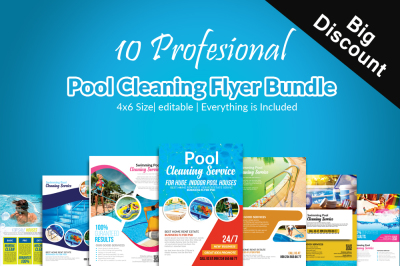 10 Pool Cleaning Service Flyer Bundle