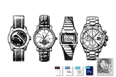 Set of men's wristwatches