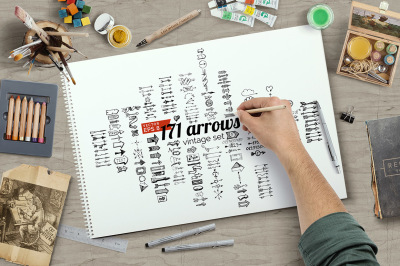 171 vector arrows in hand drawn style