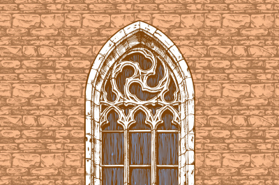 Gothic window at the wall