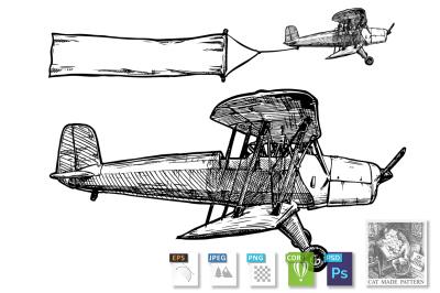 vintage biplane with banner