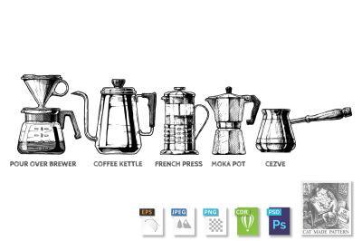 set of Coffee preparation