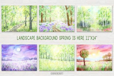 Watercolor Nature Landscape Spring
