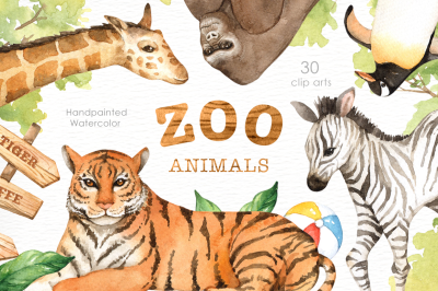 Zoo Animals Watercolor clipart