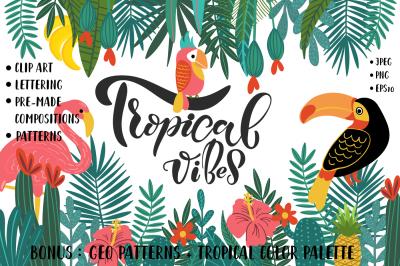 Tropical Clip Art, Lettering & Patterns Set