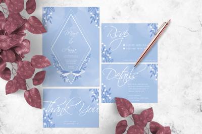 Blue Dragonfly Wedding Invitation Suite