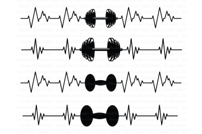 Heartbeat weights SVG, CrossFit SVG files