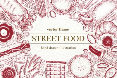 Street Food Vector Frame