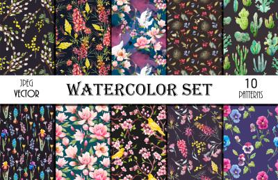 10 Watercolor Floral Patterns (VECTOR + JPEG)