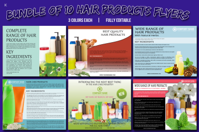 Bundle of 10 Hair Products Flyer Templates