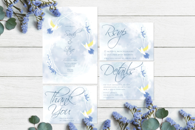 Gecometric frame and doves - wedding Invitation Suite