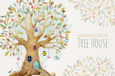 Watercolor Tree House Illustration