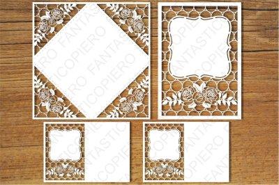 Wedding invitation (set4) SVG files for Silhouette Cameo and Cricut.