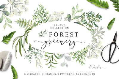 Forest greenery. Vector collection