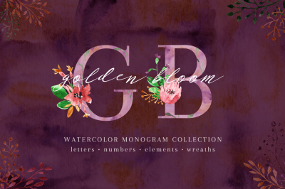 Golden Bloom - monogram set
