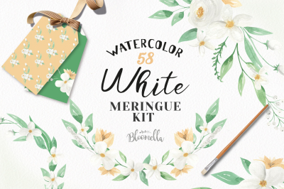 White Floral Wedding Package Flowers Clipart Kit
