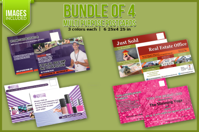 Bundle of 4 Multi Purpose Post Card Templates
