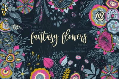 Fantasy flowers vector set