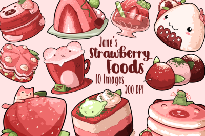 Watercolor Kawaii Strawberry Foods clipart