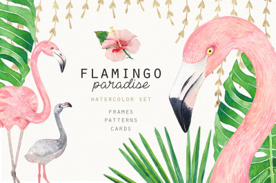 FLAMINGO PARADISE watercolor set