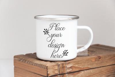 Camping hiking mug enamel metal cup mock up template mockup