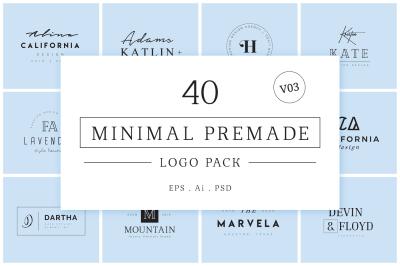 Minimal Premade Logo Bundle V03