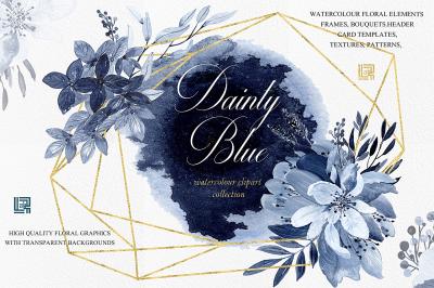 Dainty blue. Navy blue watercolor flowers