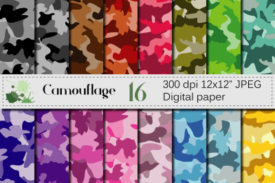 Camouflage Digital paper / Colorful Camo backgrounds