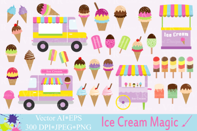 Ice cream Clipart / Summer graphics / Vector illustrations